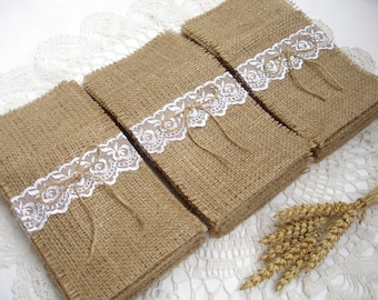 Set of 200- Burlap Silverware Holder wish white lace and  bow ,  Wedding - Wedding Table  - Table Setting