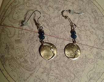 Moon  and Stars Earrings with Blue Glass Bead .Hypoallergenic.