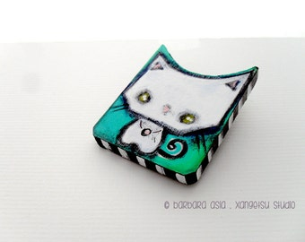 Cat Brooch - Cat Pin - White Kitty Pin