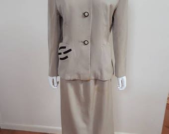 Vintage 1950s Lilli Ann Cream Skirt 50s Suit