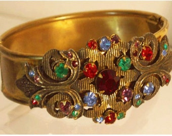 Vintage Deco Czech jeweled hinged Bracelet Rhinestone bangle
