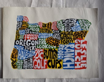 Oregon Map Wall Art | OR poster | acrylic painting | home decor, map of Oregon