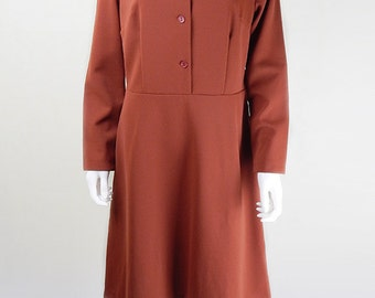 Original 1970s Stylish Vintage Burnt Orange Day Dress Size 16