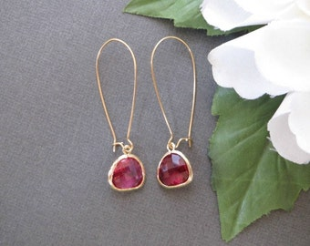 Ruby Earrings, Dainty Minimalist Earrings, Simple Minimal Earrings, Everyday Long Earrings, Gold Earrings, Womens Gift, July Birthstone