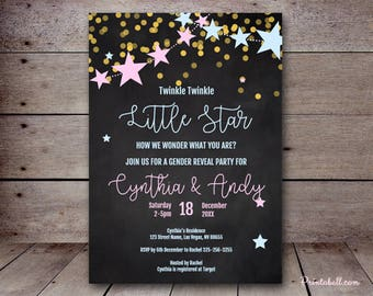 """DIY 5x7"""" Editable Invitation, Twinkle Twinkle Gender Reveal Invitation, How I wonder what you are, gender reveal party invitation TLC46 ZZ09"""