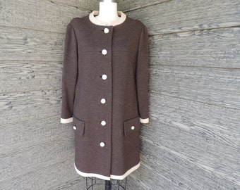1960s Lilli Ann wool coat mod brown and cream knit winter jacket large XL