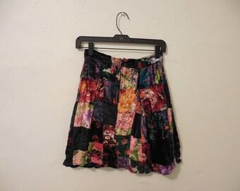 Vintage Betsey Johnson velvet patchwork skirt from the 80s