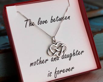 The love between mother and daughter is forever - Infinity Heart Necklace - Sterling Silver Jewelry