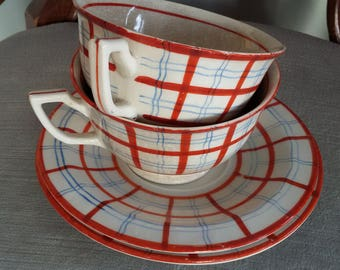 Pair of Vintage Red / Blue Plaid, Checkered Pattern Cups and Saucers, Made in Japan, As Is