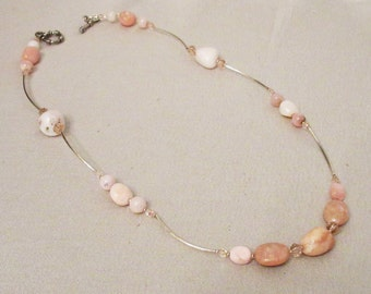 Pink Peruvian Opal Jewelry, Pink Opal Necklace, Nuggets and Rounds, Silver Noodles, Handmade Reversible Necklace, Natural Pink  Healing Gems