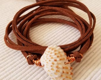 Wrap Bracelet made with round Brown Faux Leather Cord,Beached Shell and Wood bead closure