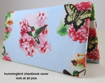 Hummingbird 2 Checkbook Cover - Coupon Holder - Multi Colors Hummingbirds and Butterflies Check Book Cover - Checkbook Cover Gift Idea