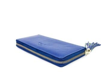 Leather Ladies Wallet Handmade Women Wallet , Groomsmen Gifts, Soft Leather WJEN-BS01-NAVY