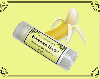 BANANA BABY Lip Balm made with Shea Butter - .15oz Oval Tube