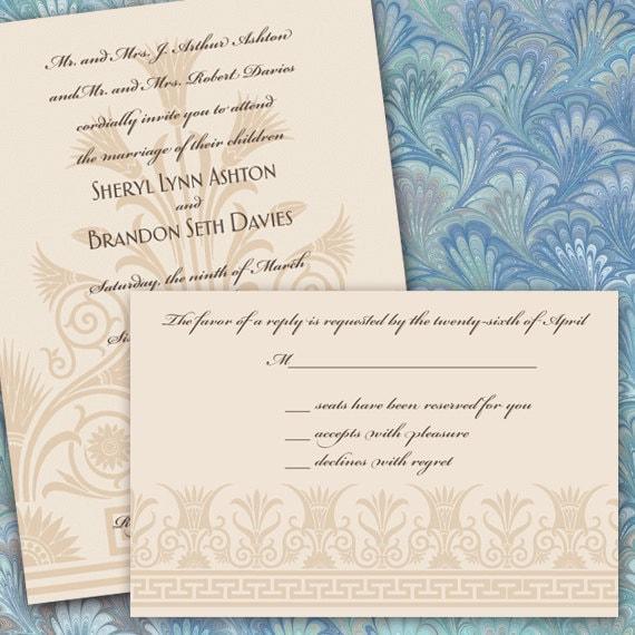 wedding invitations, elegant wedding invitations, wedding invitation and rsvp, wedding rsvp wording, ivory wedding invitations package IN274