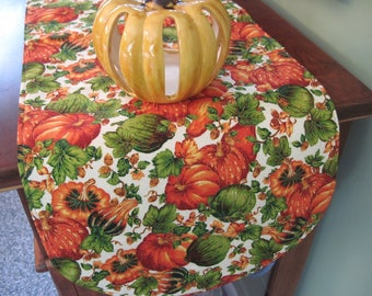 """36"""" Pumpkins and Gourds Table Runner Reversible Pumpkin Table Runner Thanksgiving Table Runner Autumn Table Runner Fall Table Runner"""