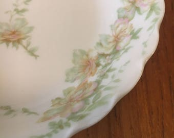 Vintage Scalloped Theodore Haviland Limoges Pink and Green Flowers Berry Bowl