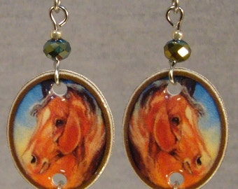 Horse Painting Dangle Earrings - Equestrian Jewelry - Cowgirl Jewellery