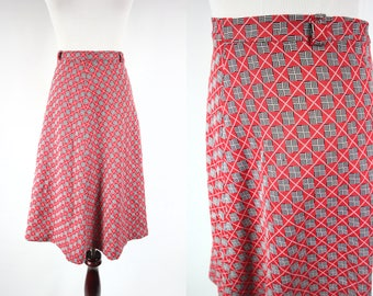 1960's Red Checkered A-line High-waisted Skirt