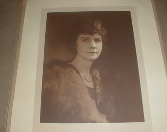 Large Antique Portrait/Photo Young Lady In Furs & Pearl Necklace *Sepia Tones* Owensboro KY