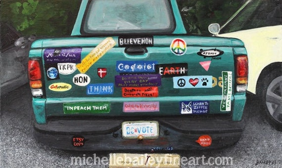 Art prints note cards old truck bumper stickers dc vote