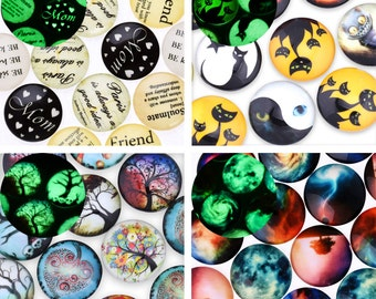 """20 Glow in the dark cabochon 25mm 1 inch 1"""" Round Photo Glass Cabochons Glowing Jewelry 10079"""