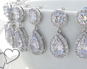 Chrissy - Cubic Zirconia Wedding Earrings, Bridal Earrings, Crystal Teardrop Earrings, Bridal Jewelry, Drop Earrings, Bridesmaid Gifts