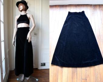 Velvet maxi skirt black velvet high waist 70 s vintage long skirt high waisted hippie gypsy goth gothic handmade vintage skirt - Size XS / S