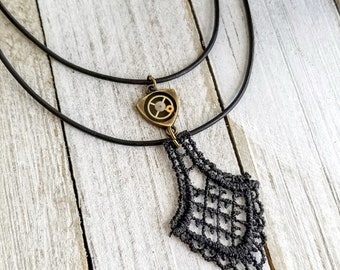 Steampunk Necklace, Lace Necklace, Leather Choker Necklace, Clockwork Jewelry, Watch Part Jewelry, Black Leather Necklace, Layered Necklace