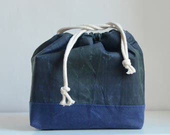 Blackwatch Plaid Waxed Canvas Large Drawstring Knitting Project Craft Bag - READY TO SHIP