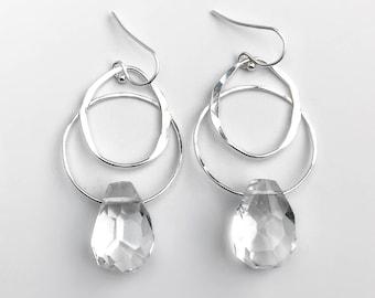 Quartz Crystal and Sterling Silver Organic Hoop Dangle Earrings - Boho Crystal Jewelry - Natural Stone Earrings - Nickel Free Earrings