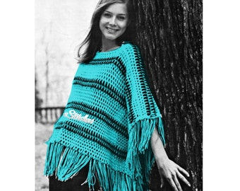1970s Crocheted Striped Lacy Poncho with Fringe  - Crochet pattern PDF 1712