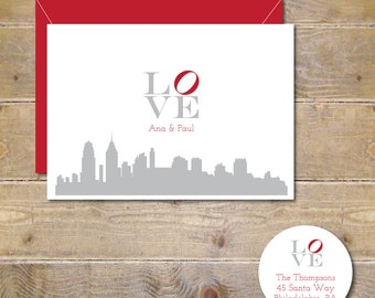 Wedding Thank You Cards, Love, Thank You Cards, Wedding, Philadelphia, Bridal Shower, Philadelphia Love Park, Affordable Weddings