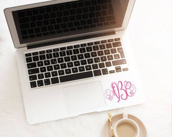 Decal for laptop, Monogram decal, Computer monogram decal, Laptop monogram sticker, Vine monogram decal, Decals for laptop, Computer sticker
