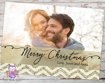 Full Photo Christmas Card | Glitter Christmas Card | Printable Photo Christmas Card | Printed Photo Christmas Card | Holiday Photo Card