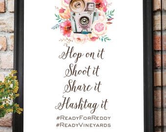 DIGITAL FILE Photo Booth Birthday Wedding, Hashtag Poster, Floral Wedding, Birthday Camera Instagram Social Share Hashtag Sign 36x48 Inches