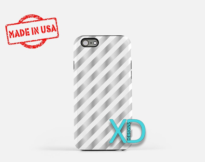 Silver Candy Cane Phone Case, Silver Candy Cane iPhone Case, Xmas iPhone 7 Case, Silver, Xmas iPhone 8 Case, Candy Tough Case, Clear Case