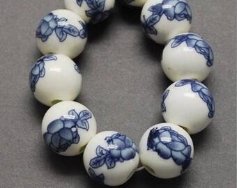 10 ceramic beads, dark blue flower 1 cm round porcelain