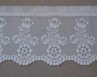 """Vintage White Lace Floral Design Curtain Valance, Light Filtering Lace Curtain Valance, 68"""" by 18 1/4"""", 4 Available"""