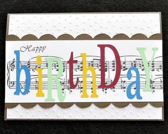 Laser cut birthday card handmade paper flower card birthday music note birthday card for the music lover music card for men women bookmarktalkfo Choice Image