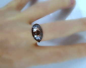 Oxidized Low Dome Ring, Petite, Dark Copper, Oval Ring, Textured Ring, Hammered Copper Ring, Bubble Ring, Men's Pinky Ring, Woman's Ring