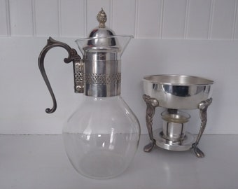 Vintage coffee carafe by Sheridan Silver Plated with warming stand and a candle - mid century coffee carafe pot