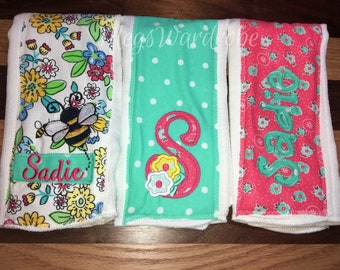Floral/Bee- Burp Cloth Set of 3- Embroidered- Personalized