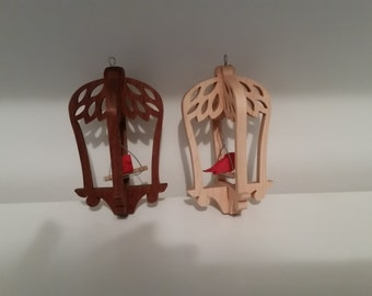 wood bird cage ornament