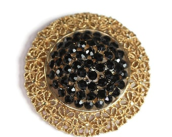 Black Crystal Brooch Gold Tone Filigree Designer Karu Arke Vintage Domed Circle Shape