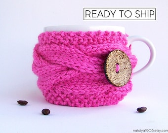 Valentine Coffee Cozy, Coffee Mug Cozy, Coffee Cup Cozy, Tea Cozy, Coffee Sleeve, Coffee Cup Sleeve, Neon Pink, Tea Gifts, Coffee Gifts