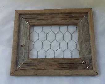 Wooden Frame with Chicken Wire Back Farmhouse Wall Decor