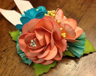 Corsage in Pool, Peach and Butter~ Prom, Bridesmaids, Bridal Party, roses