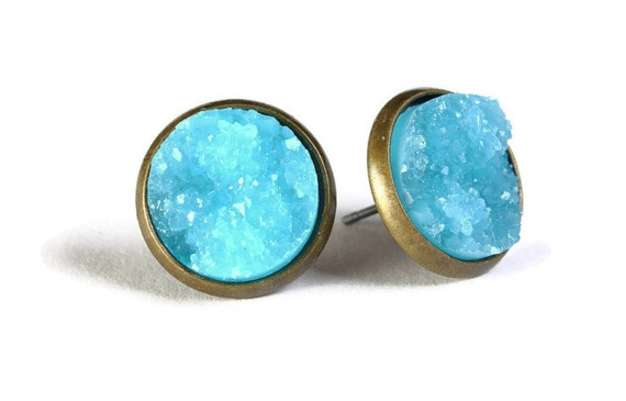 Antique brass and blue textured stud earrings - Textured earrings - Faux Druzy earrings - Lead free nickel free (802)