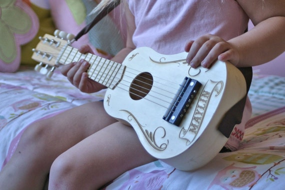 Personalized Kids Toy Guitar Gifts For Music Instrument Elastic Strap Birthday Present Wooden